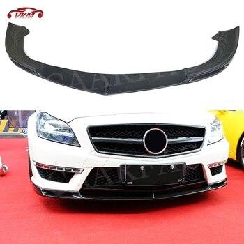 Carbon Fiber Front Lip Spoiler Splitters Flaps For Mercedez Benz CLS Class W218 CLS300 CLS350 2012-2015 V Style Head Bumper Chin