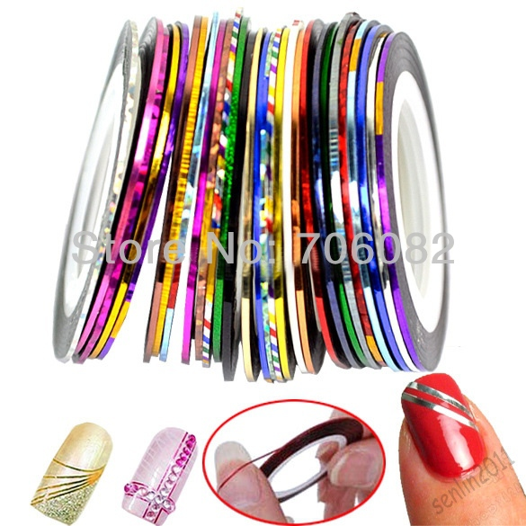 31Pcs Mixed Colorful Beauty Rolls Striping Decals Foil Tips Tape ...