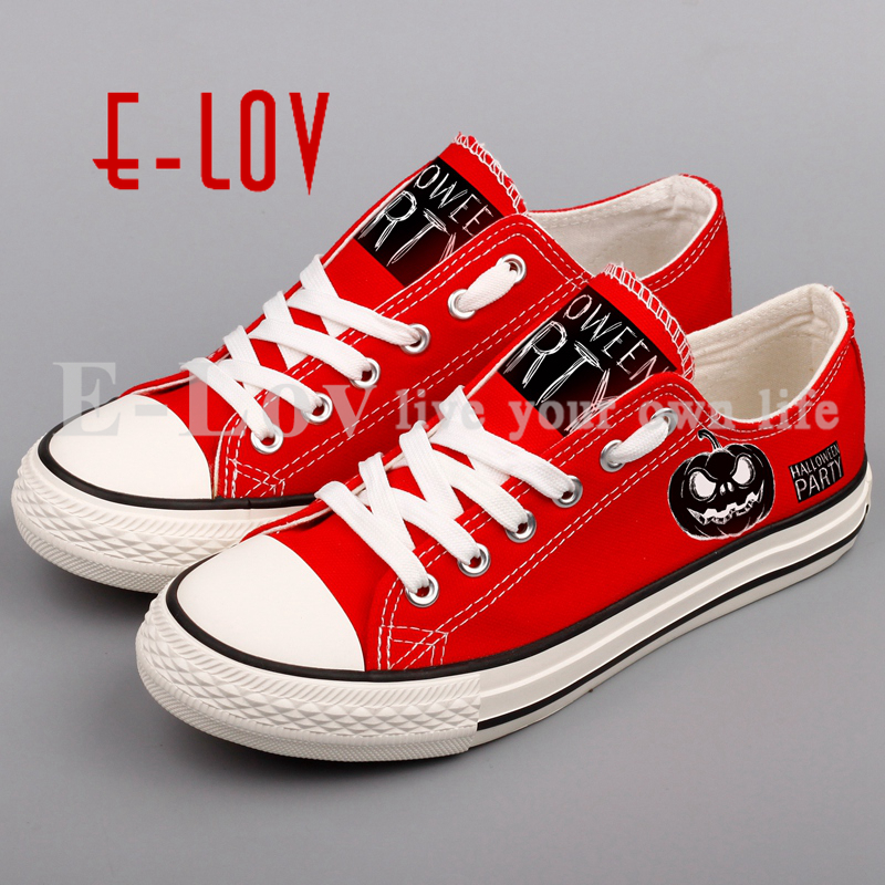 E-LOV Customized Halloween Party Canvas Shoes Women Casual Flat Shoe Printed Halloween Christmas Pumpkins DIY Couple Lover Gifts e lov women casual walking shoes graffiti aries horoscope canvas shoe low top flat oxford shoes for couples lovers