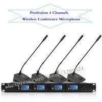 Про UHF микрофон 4 канала Беспроводной Microfono конференции настольного микрофон караоке микрофон Системы