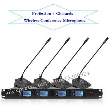 Pro UHF Microfone 4 Channel Wireless Microfono Desktop Conference Karaoke Microphone Mic System