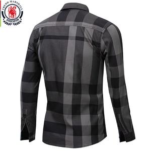 Image 2 - Fredd Marshall koszula męska 2019 letnia moda koszula w kratę mężczyźni z długim rękawem Casual Slim dopasowane koszule 100% bawełna koszulka Homme 199