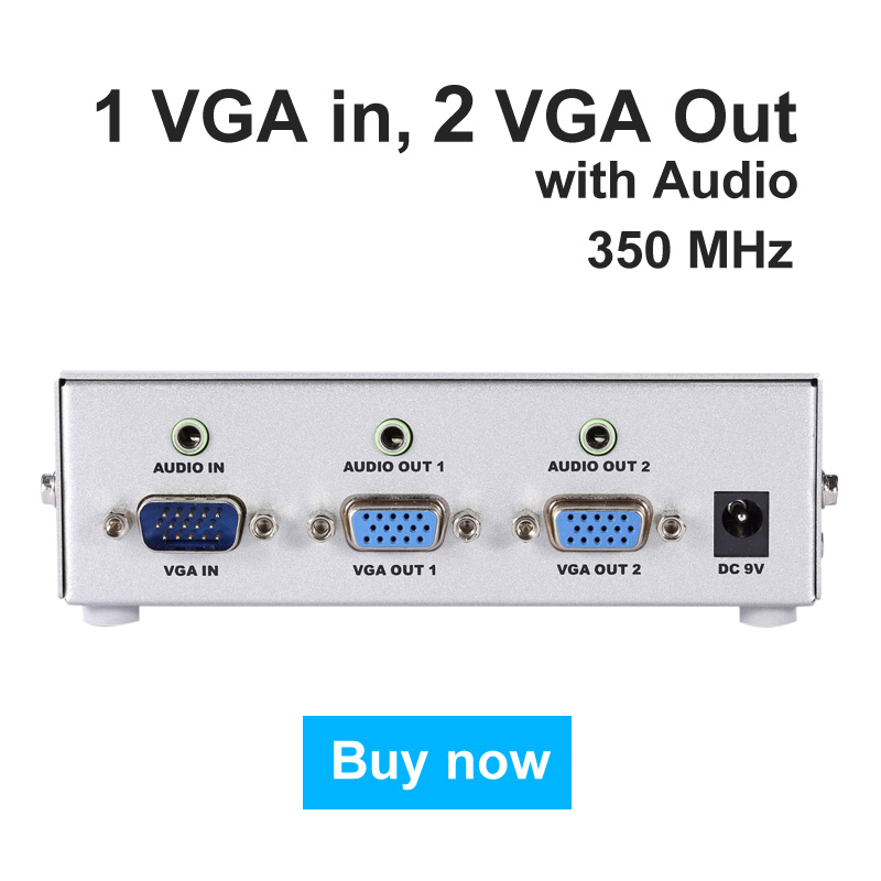 MT-VIKI VGA Splitter with Video Audio Distributor 1 input to 2 Output support widescreen Monitors Maituo MT-3502AV