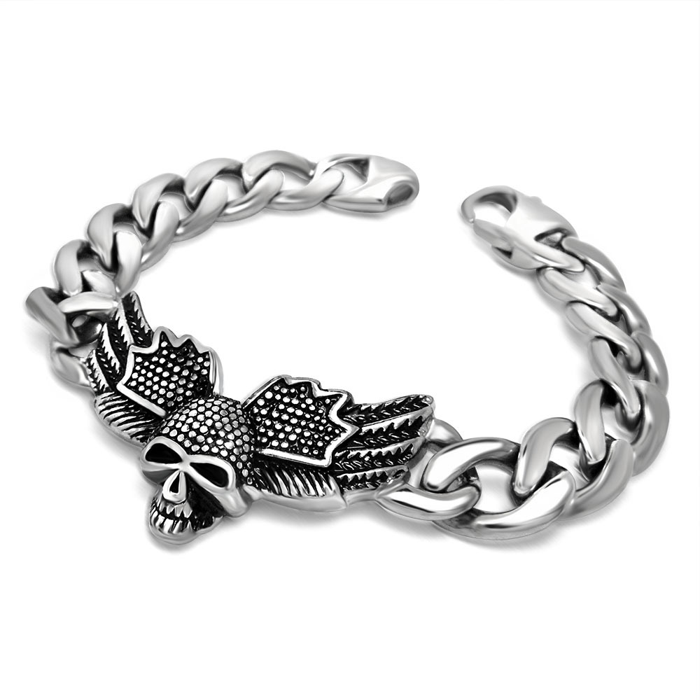 New Gift 316L Stainless Steel Heavy Solid Silver Men's Skeleton Skull Chain Bracelet Ghost Bangle Biker Punk Jewerly