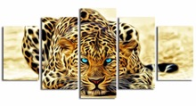 5Piece picture Hot Sell Abstract Leopard Modern Home Wall Decor painting Canvas Art HD Print Painting for sitting room