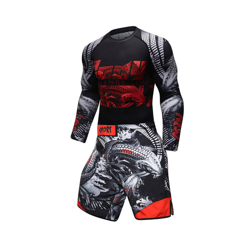 New UFC BJJ MMA Work Out Compression Rashguard T Shirt Men VS PK GYMS Exercise 3D Fitness Tights Bodybuild  Rash Guard