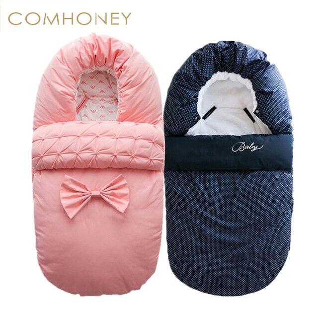 Конверт для новорожденных толстый спальный мешок 24 м зимнего сна мешок для коляски корзина Одеяло пеленать одноцветное Младенческая Fleabag стёганое одеяло