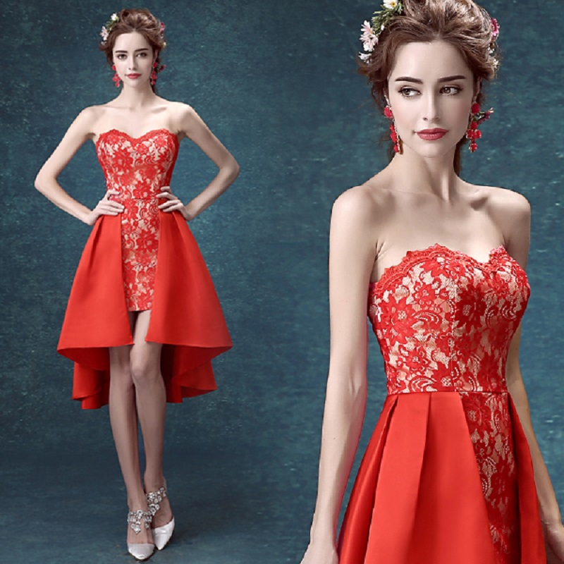 2019 New Arrival Stock Maternity Plus Size Bridal Gown Red Evening Dress Front Short Back Long Lace Sexy Satin Party Dress 3197