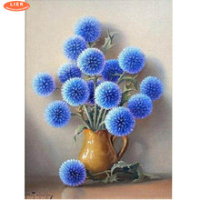 LIER diamond painting blue flowers,full square embroidery  dandelion,diamond cross stitch,Home decoration Gift