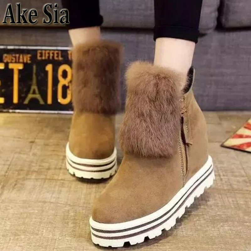 Ake Sia British Winter Fashion Women Warm Hairy Fluff Slip-On Snow Bottine Martin Boots Increased With Shoes Ankle Booties F275 ake sia british winter fashion women warm hairy fluff slip on snow bottine martin boots increased with shoes ankle booties f275