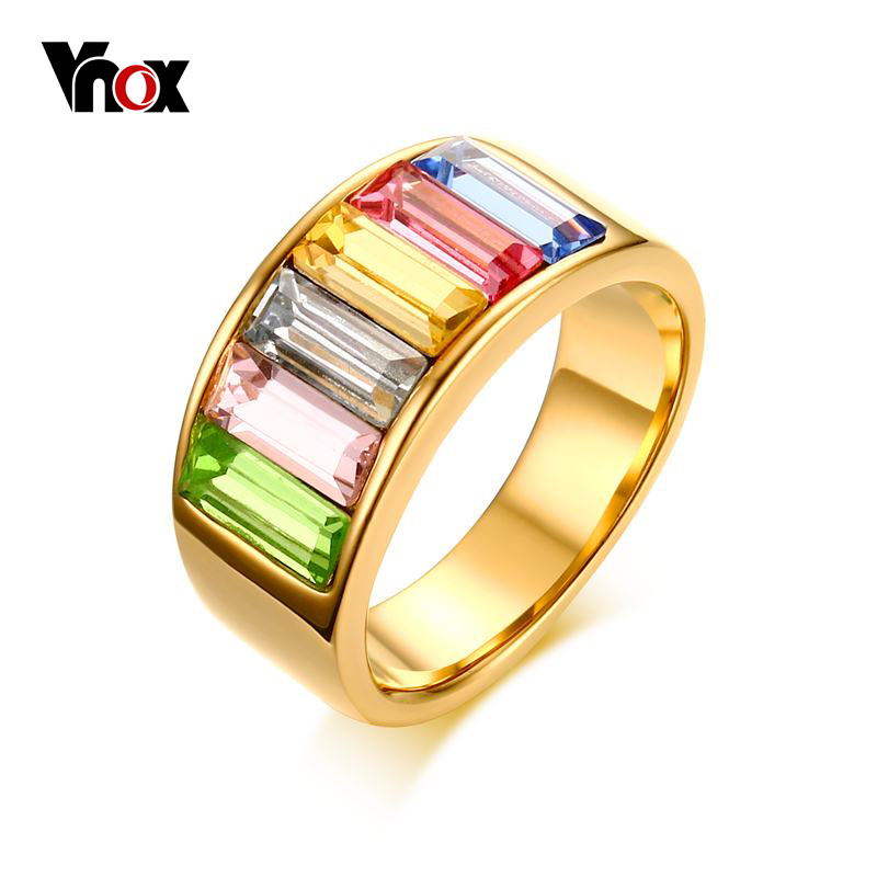 Vnox Rainbow Color Stone Rings for Women Gold-color Cocktail Rings Fashion Party Jewelry
