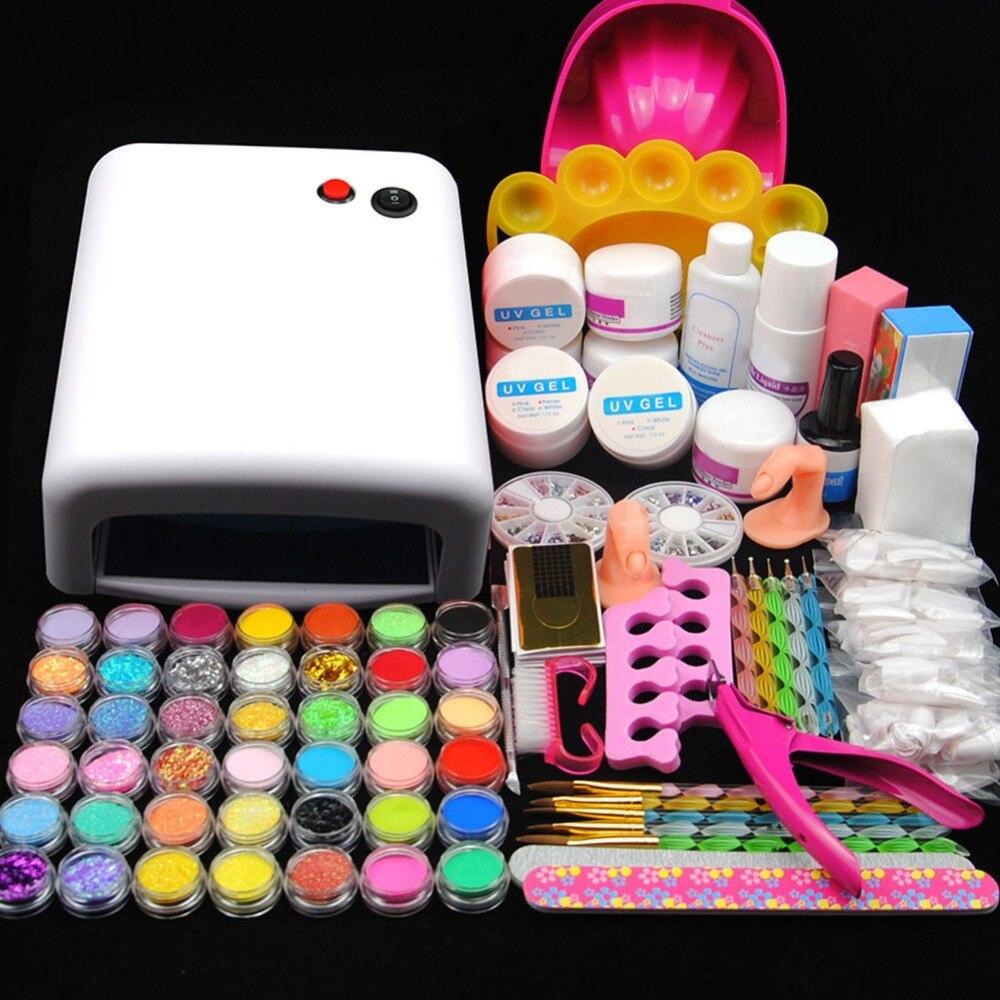 Pro 36 W Lâmpada UV para Unhas de Gel UV Kit Manicure Acrílico Nail Art Mold Exibição Reluzente Pó Arquivo Falso dicas de Decoração Manicure Kits