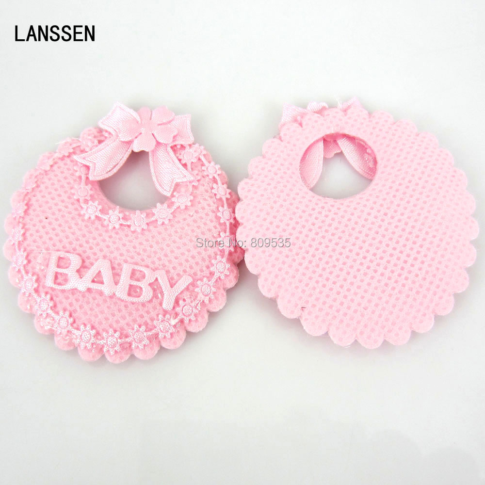 24pcs baby bibs applique baby shower favors pink girl for Applique decoration