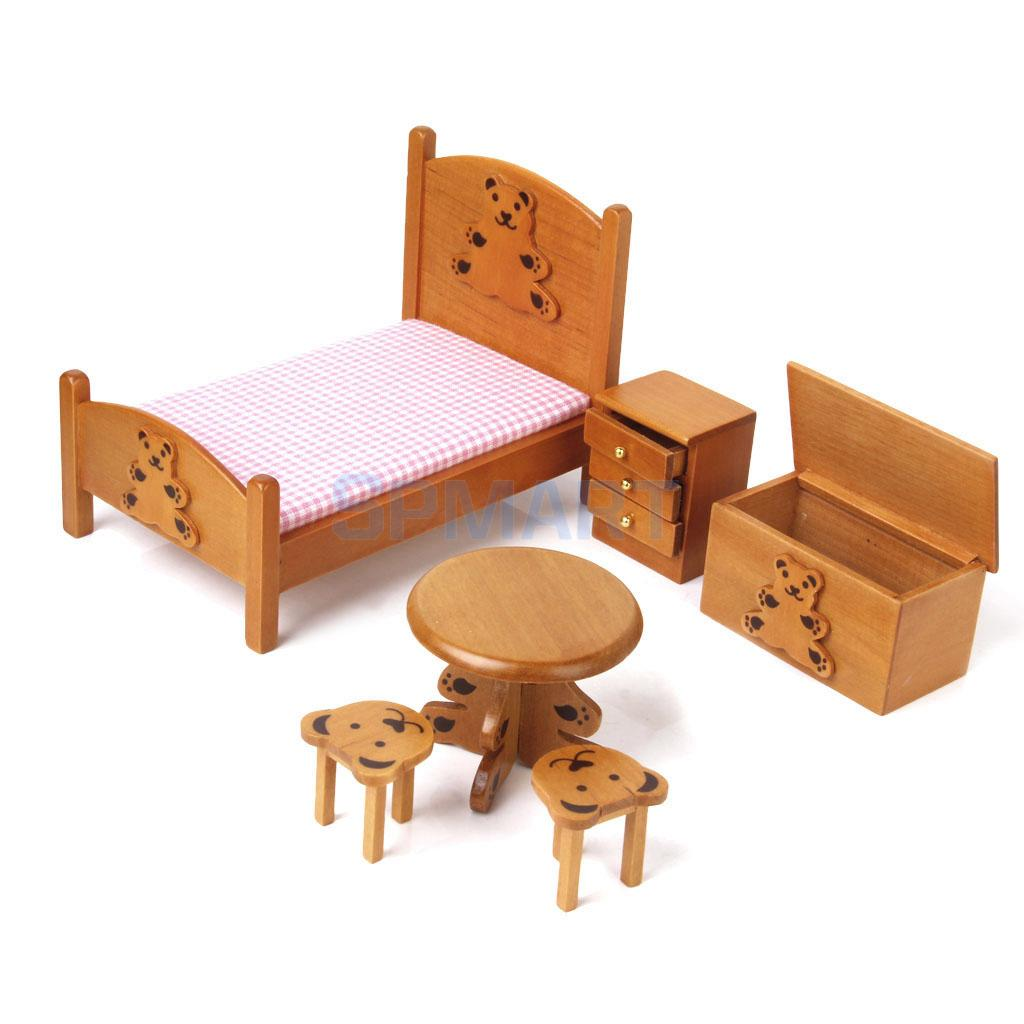 Dollhouse miniature furniture wooden childrens bedroom set 1 12 wooden color in furniture toys Wooden childrens furniture