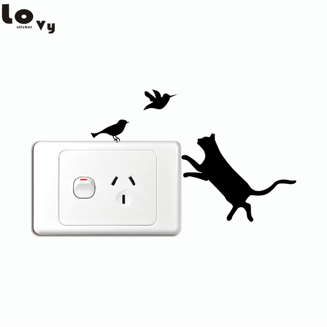 Naughty cat series switch sticker cute kitty love to chase birds cartoon vinyl wall sticker home