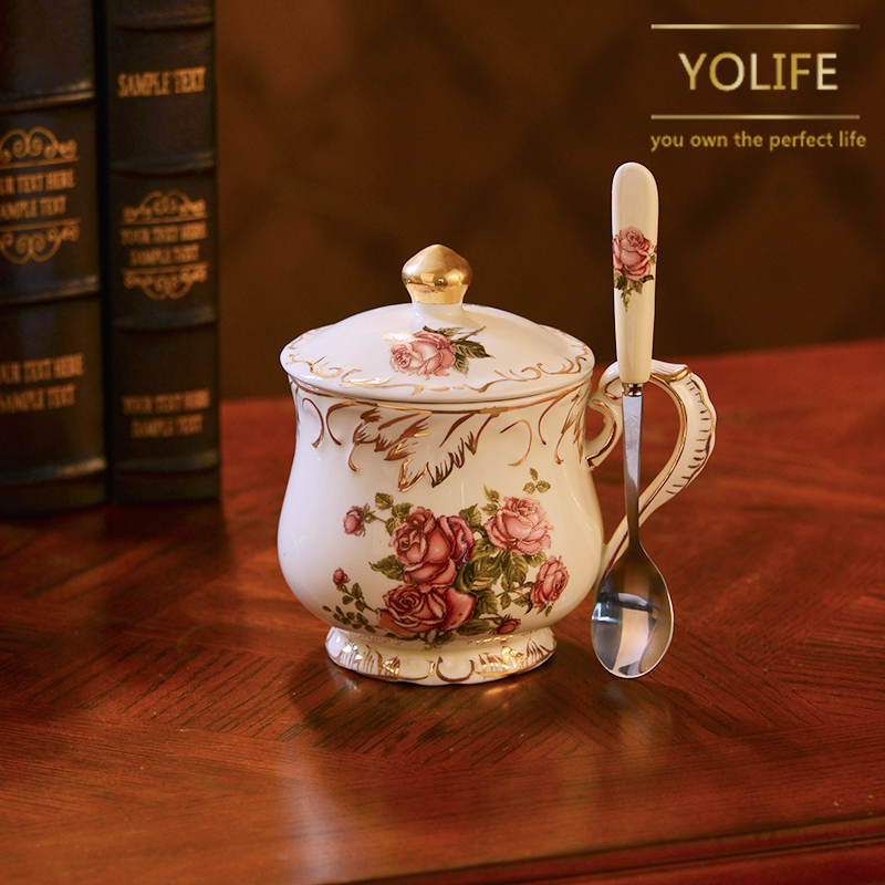 Yolift 350ML Ivory Ceramic Tea cup Reusable Lucky Mug with Lid for Gift