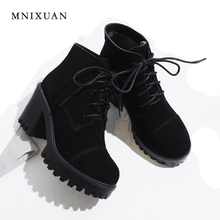 MNIXUAN women shoes ankle boots genuine leather round toe martin boots 2018 winter platform lace up short boots black big size42