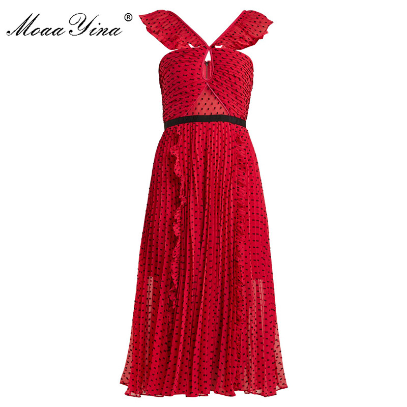 MoaaYina Red Backless Sexy Party Prom Midi Dresses Black Wave point Ruched Ruffles Slim Elegant Dress