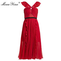 MoaaYina Red Backless Sexy Party Prom Midi Dresses Black Wave point Ruched Ruffles Slim Elegant Dress vestidos high quality