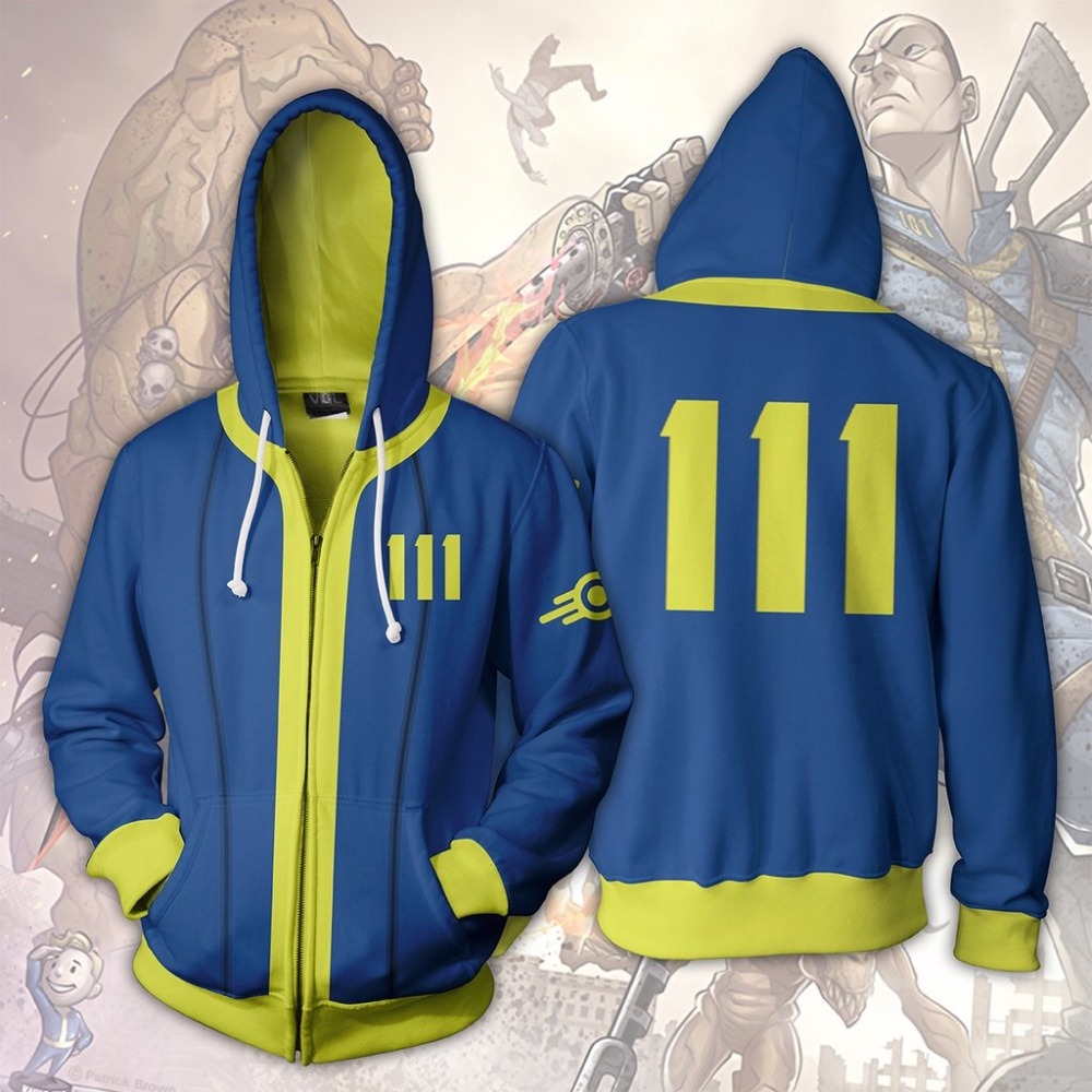 BIANYILONG 2019 Men Hooded Fallout Vault Dweller 3D Printed Hoodies Zipper Hoodie Hooded Hip Hop Tops Fall Out Zip Up Hoodie