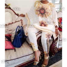 3 цвета Африканский Дашики модный костюм(топ и брюки) супер эластичные вечерние размера плюс для леди BFTZ03