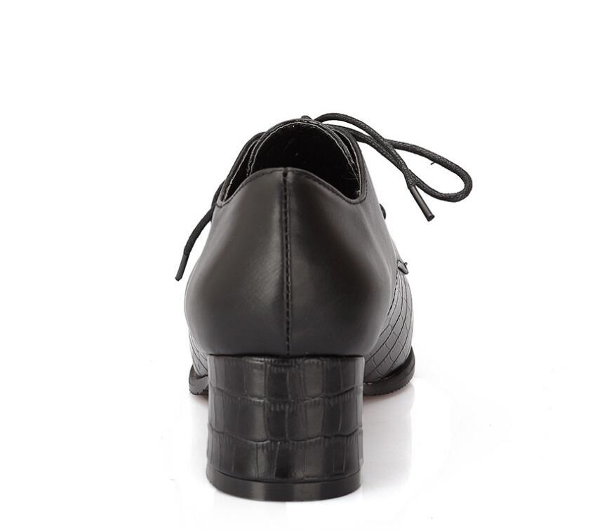Joksd Britannique Chaussures Up Rétro Doux En Lace Noir blanc 133 Derbies Femmes Cuir Plat Talon Printemps Richelieus Style Casual Oxford rouge 0OwPnk