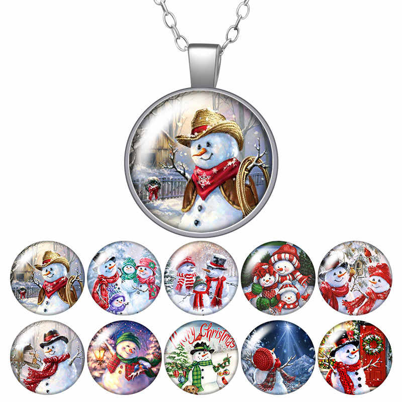 Christmas Snowman Winter Round Pendant Necklace 25mm Glass Cabochon Women Girl Jewelry Party Birthday Gift 50cm