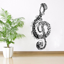 Death Style Wall Decal Skull Design Music Note Wall Sticker Home Decoration Gothic Souls Vinyl Wall Mural Music Decal AY1050 day of the dead girl skull head vinyl wall decal sticker