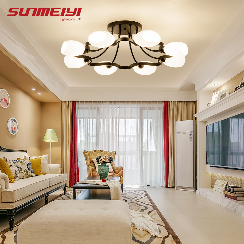 2018 Warm Home Decoration Led Ceiling Lights Hotel Hall Bedroom Glass Lamp pendente de teto Fixture Lighting For Wedding Lamp