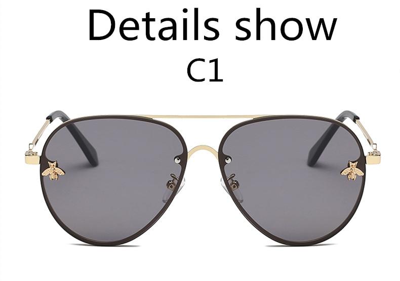 ASOUZ 2019 new fashion ladies sunglasses UV400 metal oval frame bee sunglasses classic brand design sports driving sunglasses (4)
