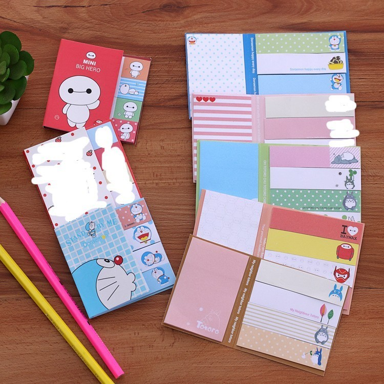 1 PCS Cute Cartoon Totoro Doraemon Baymax Self-adhesive Memo Pad Sticky Notes Post Bookmark School Office Supply