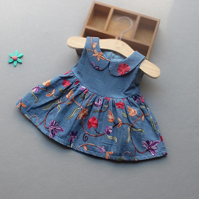Baby Dress denim dress for baby girl flower 1 year girl baby birthday dress summer baby girls denim princess dress
