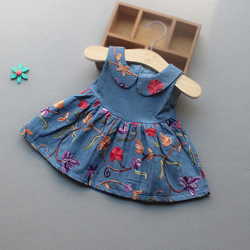 купить Baby Dress denim dress for baby girl flower 1 year girl baby birthday dress summer baby girls denim princess dress по цене 1223.28 рублей