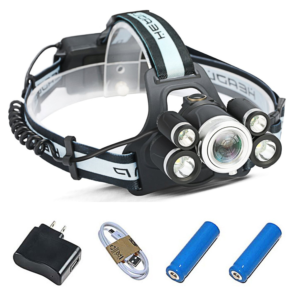 5LEDs Headlamp 5 Modes Zoomable Head Torch T6 USB Rechargeable Batteries LED Headlight Waterproof Switch Flashlight for Outdoor