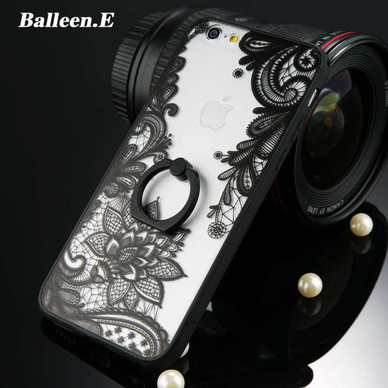 Balleen.E Luxury Lace Vines Ring Hard PC Phone Cases For iPhone X 8 7 6 6s Plus Back Cover Cases For iPhone 8 Fundas Capa Coque