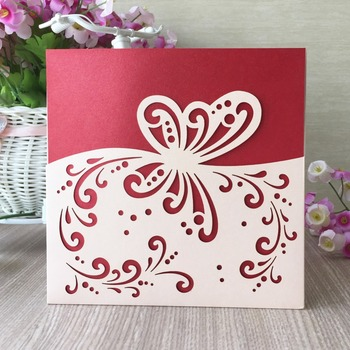 35Pcs Laser Cut Pretty Wedding Invitation Cover Card Butterfly Pocket Birthday Party Invitation Card Suppliers no inner