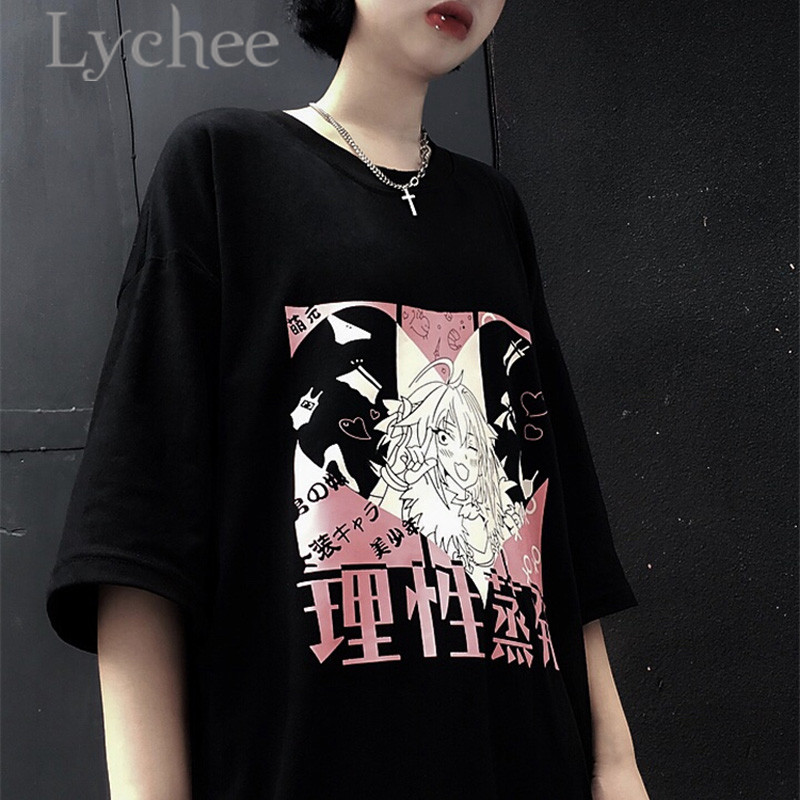 Lychee Streetwear Japanese Girl Heart Print Women Top Tees T-shirt Short Sleeve Crew Neck Loose Spring Female T Shirts 4