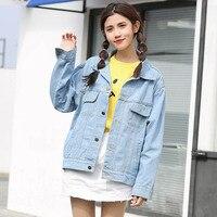 2018 New Women Denim Jackets Ulzzang BF Harajuku Short Jackets Light Blue Girl Student Jacket Coat Female #1003