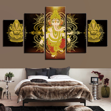 Canvas Pictures Art HD Printing 5 Pieces Gold Buddha Meditation Sunshine Scenery Paintings Poster Modular Living Room Wall Decor