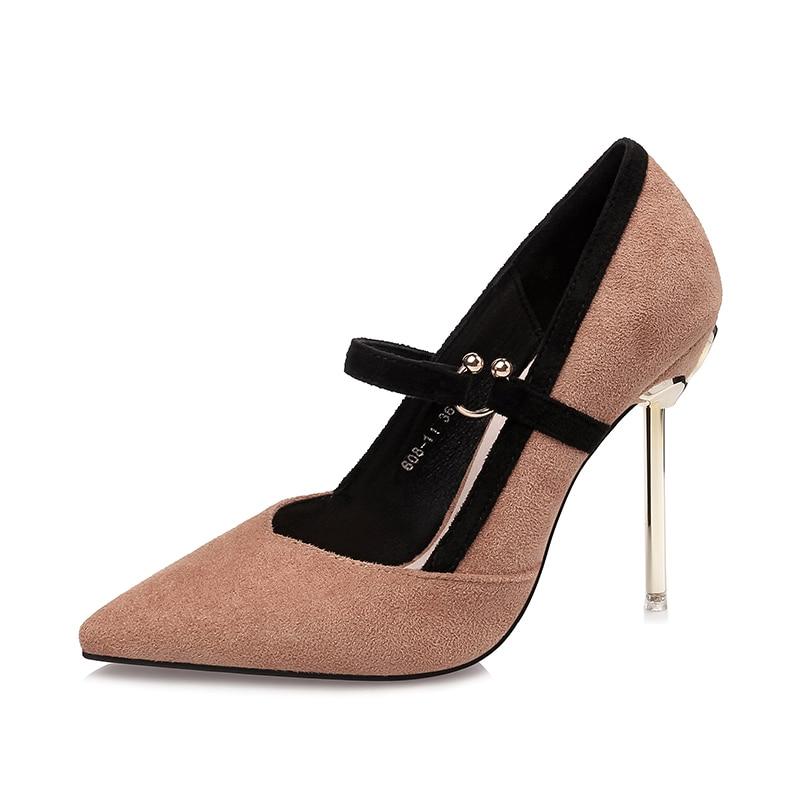 BaoYaFang Golden 9cm Thin heel Fashion shoes red sole