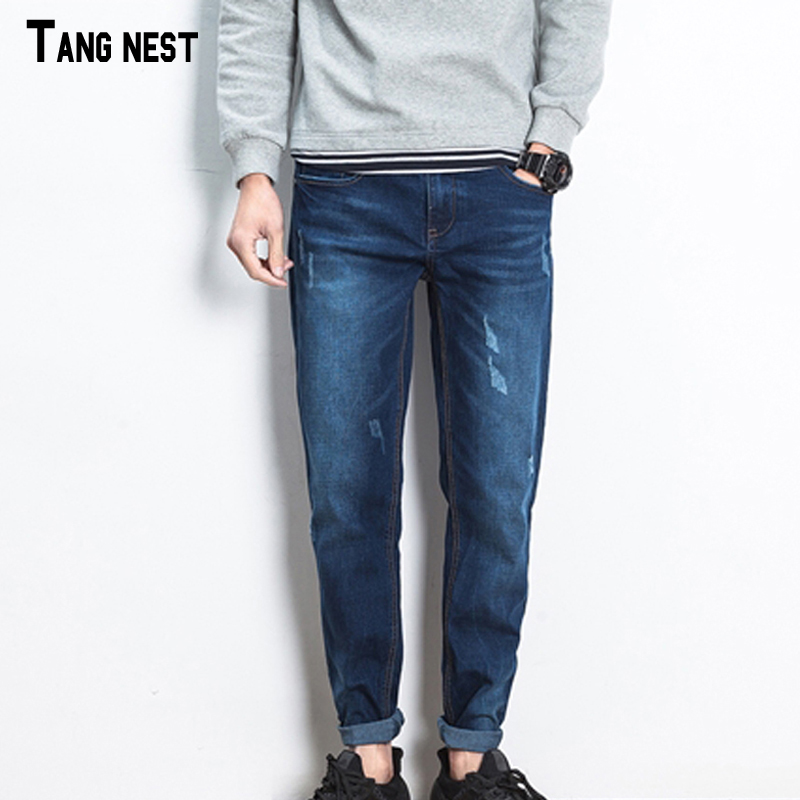 ФОТО TANGNEST Men's Casual Jeans 2017 New Fashion Spring&Autumn Men Solid Denim Jeans Male Washed Straight Popular Pants MKN872
