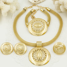Liffly Fashion Bridal Costume Jewelry Charms Dubai Gold Jewelery Sets for Women African Big Necklace Wedding Party Jewelry(China)