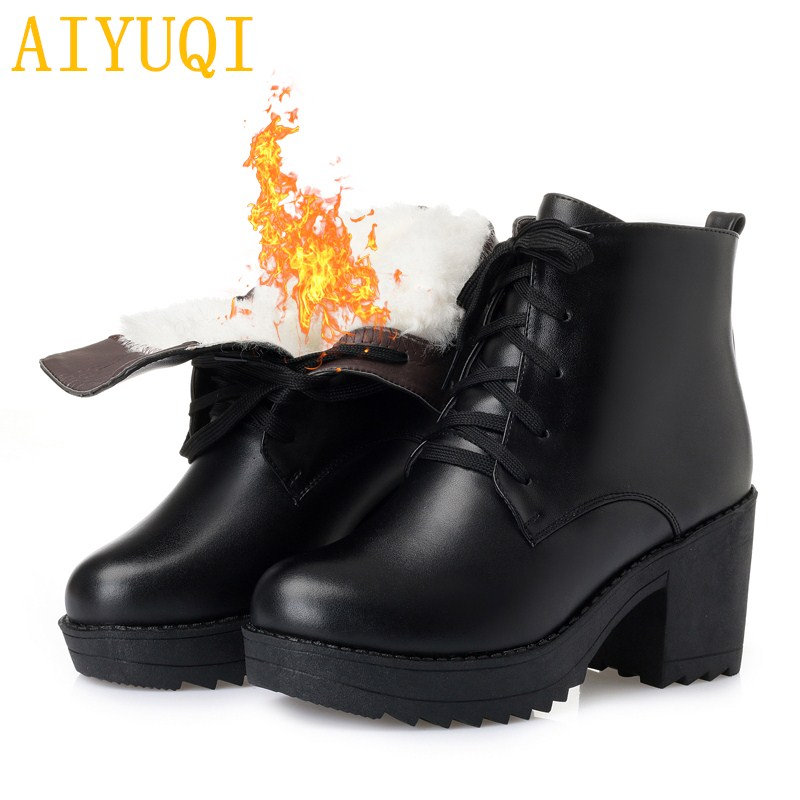 AIYUQI winter shoes ankle boots 2018 new genuine leather martin boots women,lace warm wool ladies short boots snow ,