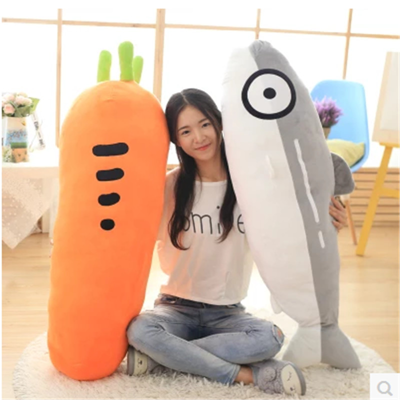 Cute Simulation Salmon Carrot Pillow Cushion Plush Cloth Baby Doll Toy For Home Sofa and Birthday Gift 55cm and 60 cm 9 5cm sheep sean standing doll baby sleeping comforting plush stuffed bed room sofa decoration toy xams gift dash pillow cushion