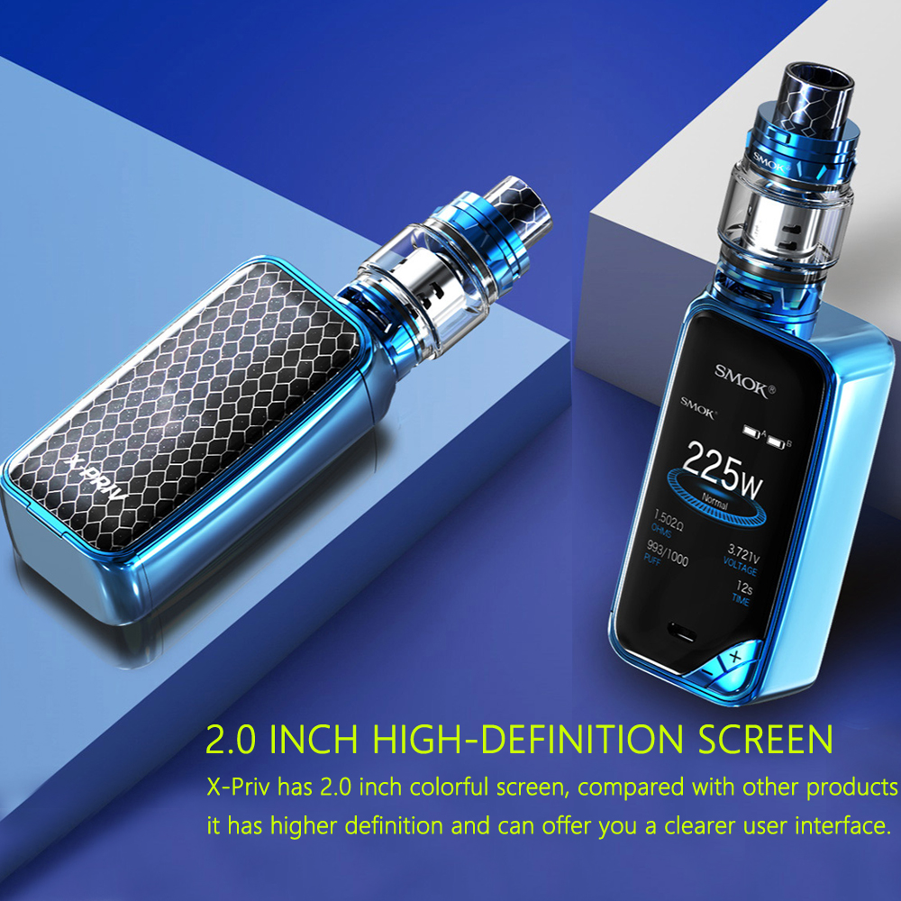 100% Original SMOK X-PRIV Kit 225W X PRIV Mod With TFV12 Prince Tank 8ml Atomizer Vaporizer  Electronic Cigarette VAPE Kit E cig