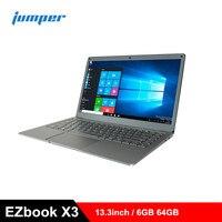 Jumper EZbook X3 Ноутбук 13,3 дюймов Windows 10 ноутбук Intel Apollo Lake N3350 четырехъядерный 1,1 ГГц 6 ГБ ОЗУ 64 Гб EMMC HDMI ПК ips