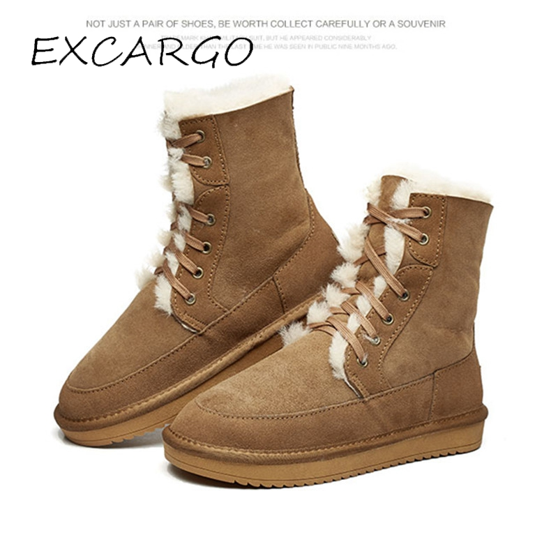 EXCARGO Man Snow Boots High Top Natural Shearling Wool Fur Warm Ankle Short Winter Shoes Male Casual Snowboots 2018 Snow Boots 2018 newest shoes woman winter boots ankle shearling snow boots wool fur cozy chain boots platform design waterproof snow boots