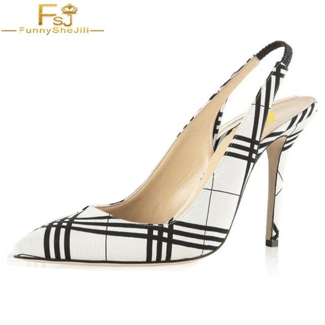 dfa6608b188 Black and White Heels Plaid Slingback Pumps Stiletto Heels Pumps Slingbacks  Woman Shoes Pointed Toe Slip On Fashion Size 15 FSJ
