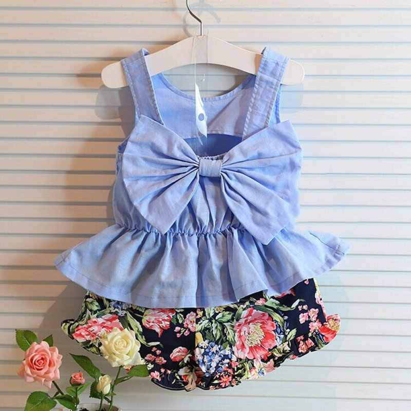 New New 2pcs Summer Style Baby Girls Clothing Set Sleeveless Big Bow T-shirt+Floral Pant Kids Clothes Set 2-6 Years