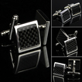 Stainless Steel Silver Vintage Gentle Men's Wedding Gift Classical Grid Cuff Links